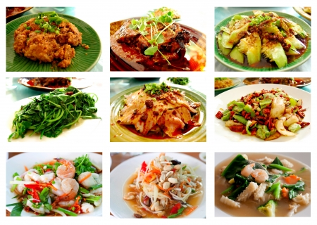 Collage from Photographs of Thai and chines food