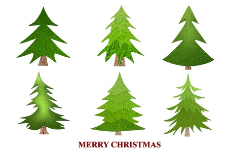 Mulberry paper Christmas tree Collection and white background. photo