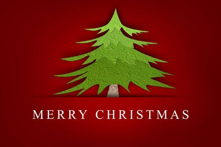 Merry Christmas, Mulberry paper Christmas tree and red background  photo