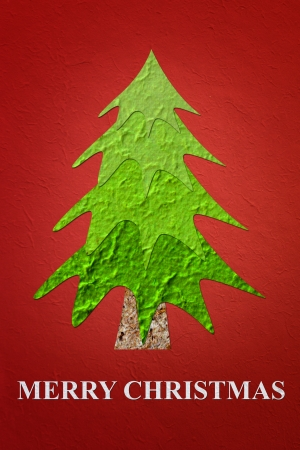 crunches: Mulberry paper Christmas Tree and red background, Merry Christmas