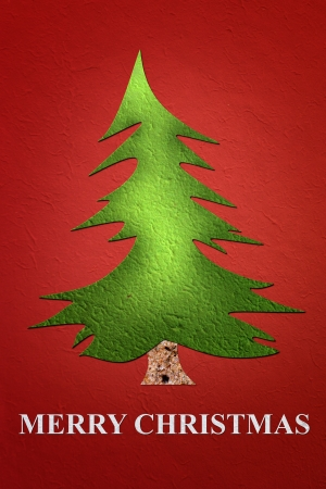Mulberry paper Christmas Tree and red background, Merry Christmas  photo