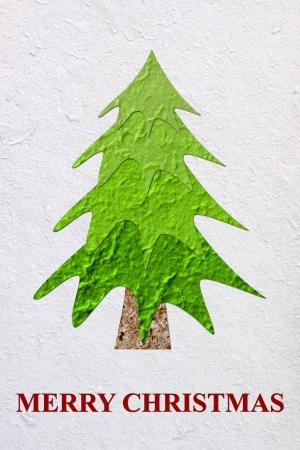 Mulberry paper Christmas tree and white background Stock Photo - 16169290