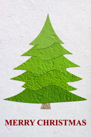 Mulberry paper Christmas tree and white background  photo