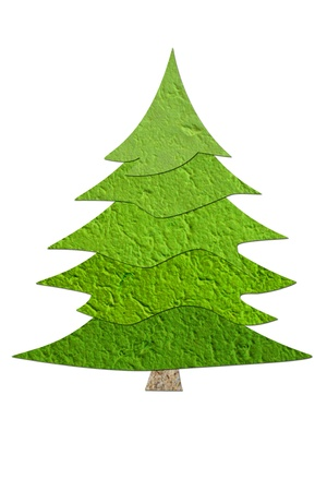 Mulberry paper Christmas tree and white background  Stock Photo
