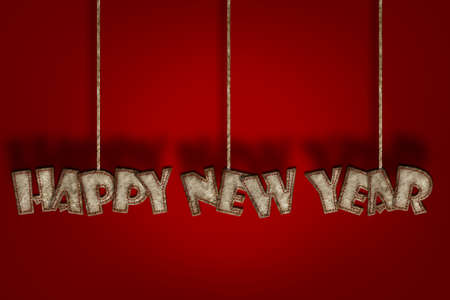 HappyNewYear, Mulberry paper letter and Red background  photo