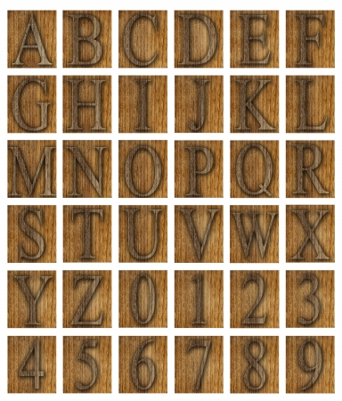 Teak wood alphabet blocks with letters and numbers  Imagens