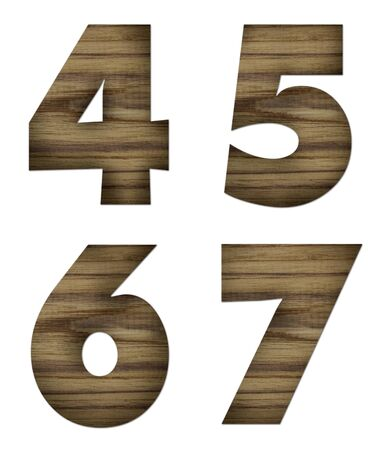 Teak wood 4-7 blocks with letters and numbers  photo