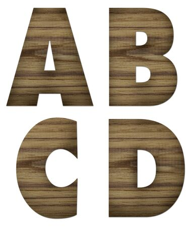 Teak wood A-D blocks with letters and numbers  photo