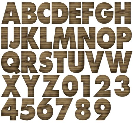 Teak wood alphabets with letters and numbers  photo