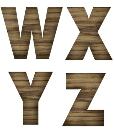 Teak wood W-Z blocks with letters and numbers  photo