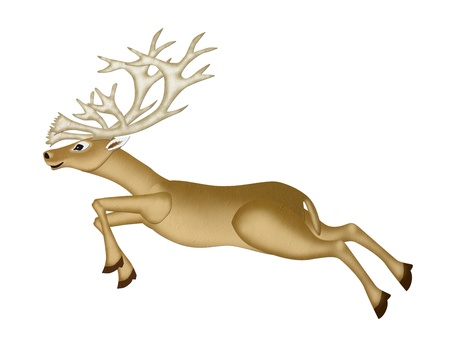 chritmas: Mulberry Paper of a Reindeer Chritmas  runing  on white background  Stock Photo