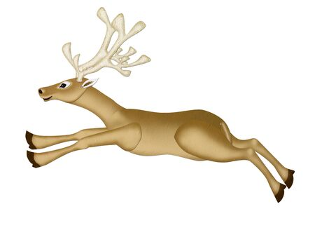 runing: Mulberry Paper of a Reindeer Chritmas  runing  on white background  Stock Photo