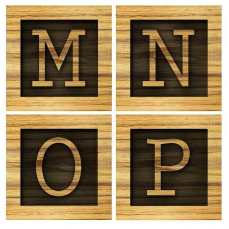 mp: Teak wood M-P blocks with letters and numbers