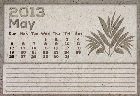2013 Calendar brown Texture Mulberry Paper  photo