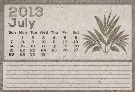 2013 Calendar brown Texture Mulberry Paper  photo