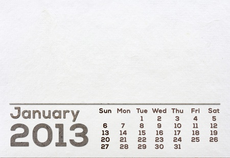 2013 Calendar white Mulberry Paper Texture.