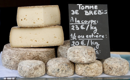 Stack of Biger France Cheese sale im the market  Stock Photo
