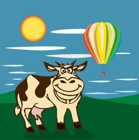 Vector cow in the field with hot balloon. photo