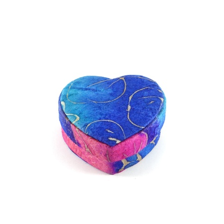Blue heart box mulberry paper isolation, hand made Stock Photo - 17045830