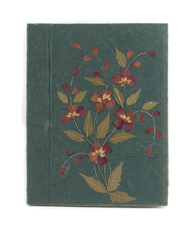 Old green book with dry flower Mulberry paper hand made  photo