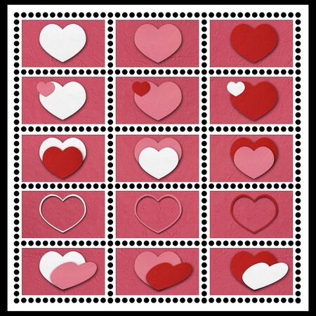 Set of love heart stamps tempate. photo