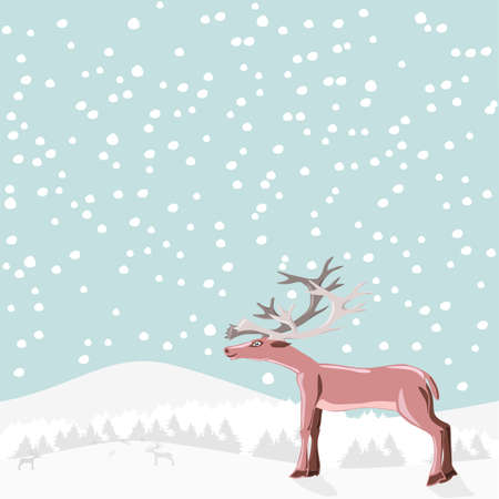 Reindeer at snowing time Stock Photo - 17173144