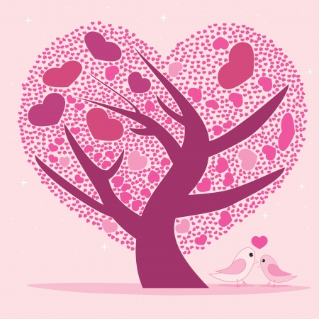 Valentine tree for your design, Pink heart shape leaves  photo