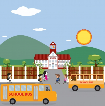 Illustration of School Building