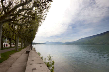 french way: View of Lake Bourget and walk way of Aix-les-bains, in french alps, France, 08 May, 2013   Editorial