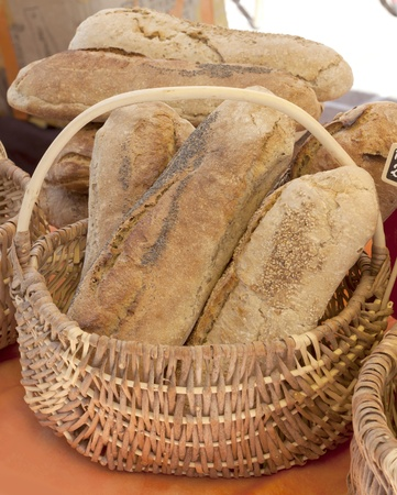 ingest: Breads close up in the basket, France.