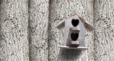 Bird house with the entrance hole with trees. photo
