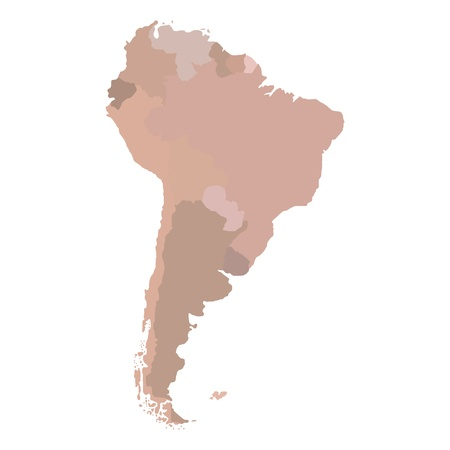 South America map with borders for countries   photo