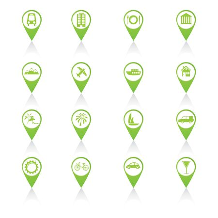 Set of green travel icons Vector Illustration. illustration