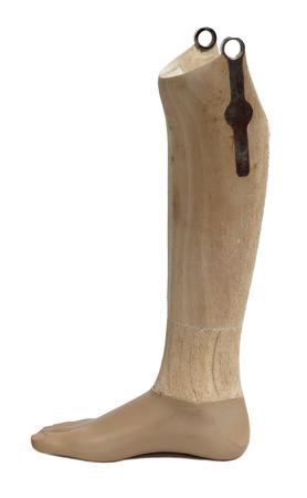 Prosthetic leg isolated on a white background.  Stock Photo
