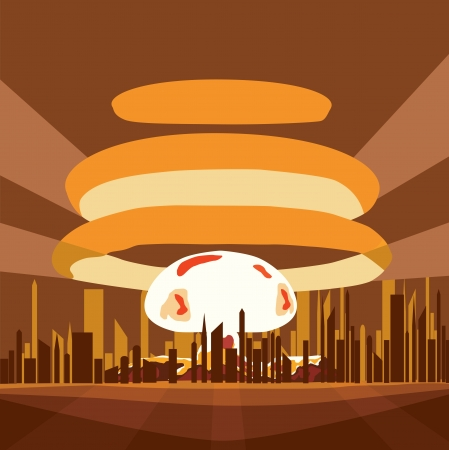 Atomic Nuclear boom in the city. Stock Vector - 22711269