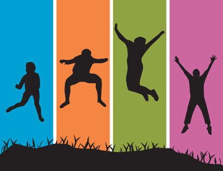 Happy People Jumpping. Vector