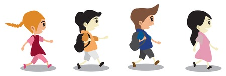 kindergarten: Illustration of a Group of School Children. Illustration