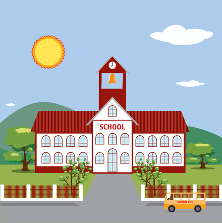 Illustration of School Building.  Vector