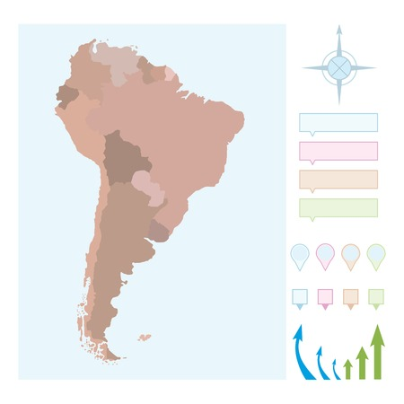 South America map with borders for countries.