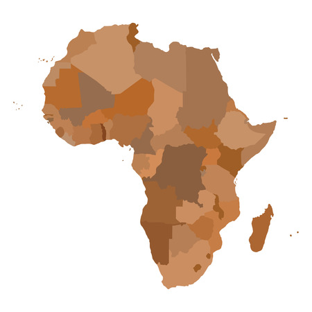AFRIKA Kaart. Cartografie collectie. Vector illustratie.
