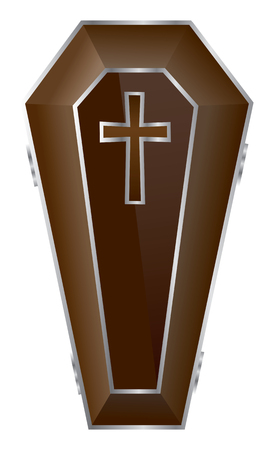 Brown Coffin Illustration. Vector