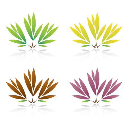Collection of color leaf Illustration. Vector