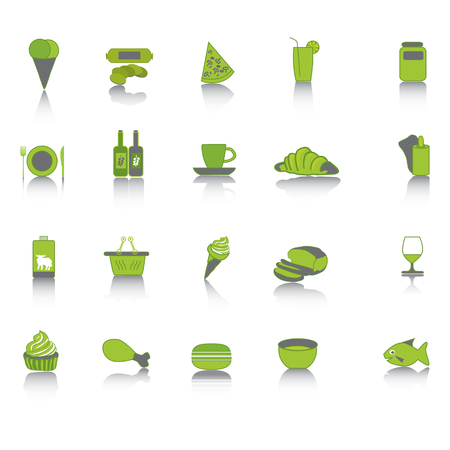 Green food collection set icons. Vector