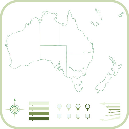 Australia Map, illustration.  Vector