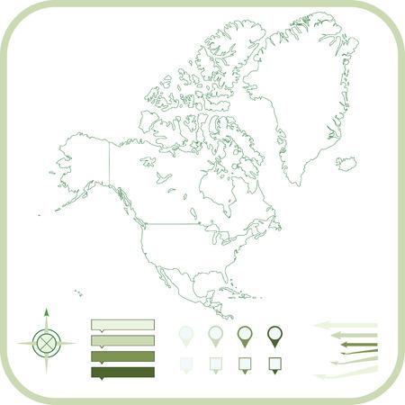 north america map: Mappa del Nord America, illustrazione.