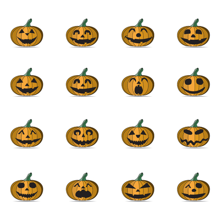 terrible: Set of Scary Halloween Pumpkins, Illustration.