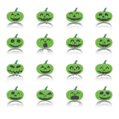 terrible: Set of Icons Scary Halloween Pumpkins, Illustration. Illustration