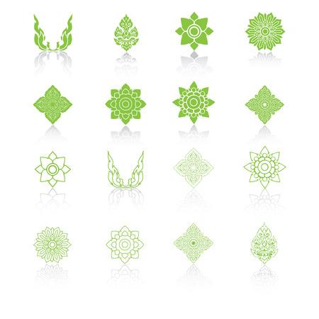 thai: Set di linea Thai Art, icone illustrazione.