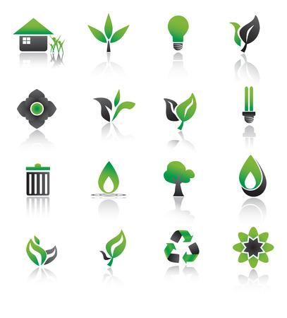 Ensemble d'icônes environnement vert. Banque d'images - 22847023