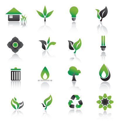 Set of environmental green icons. Vector